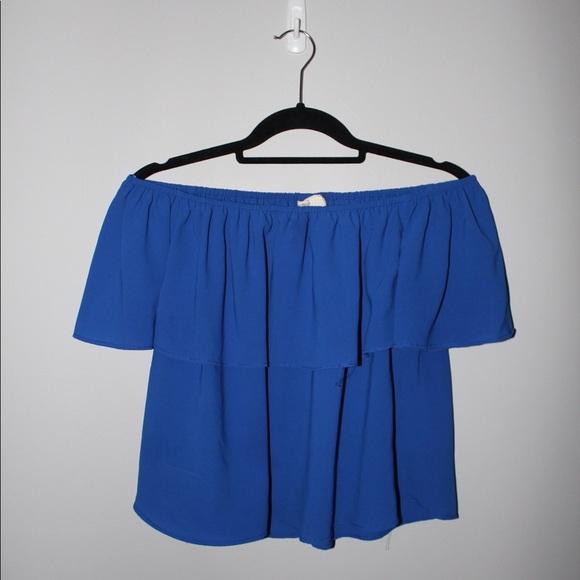 a41005eda88 Marshalls Tops | Off The Shoulder Blue Shirt | Poshmark